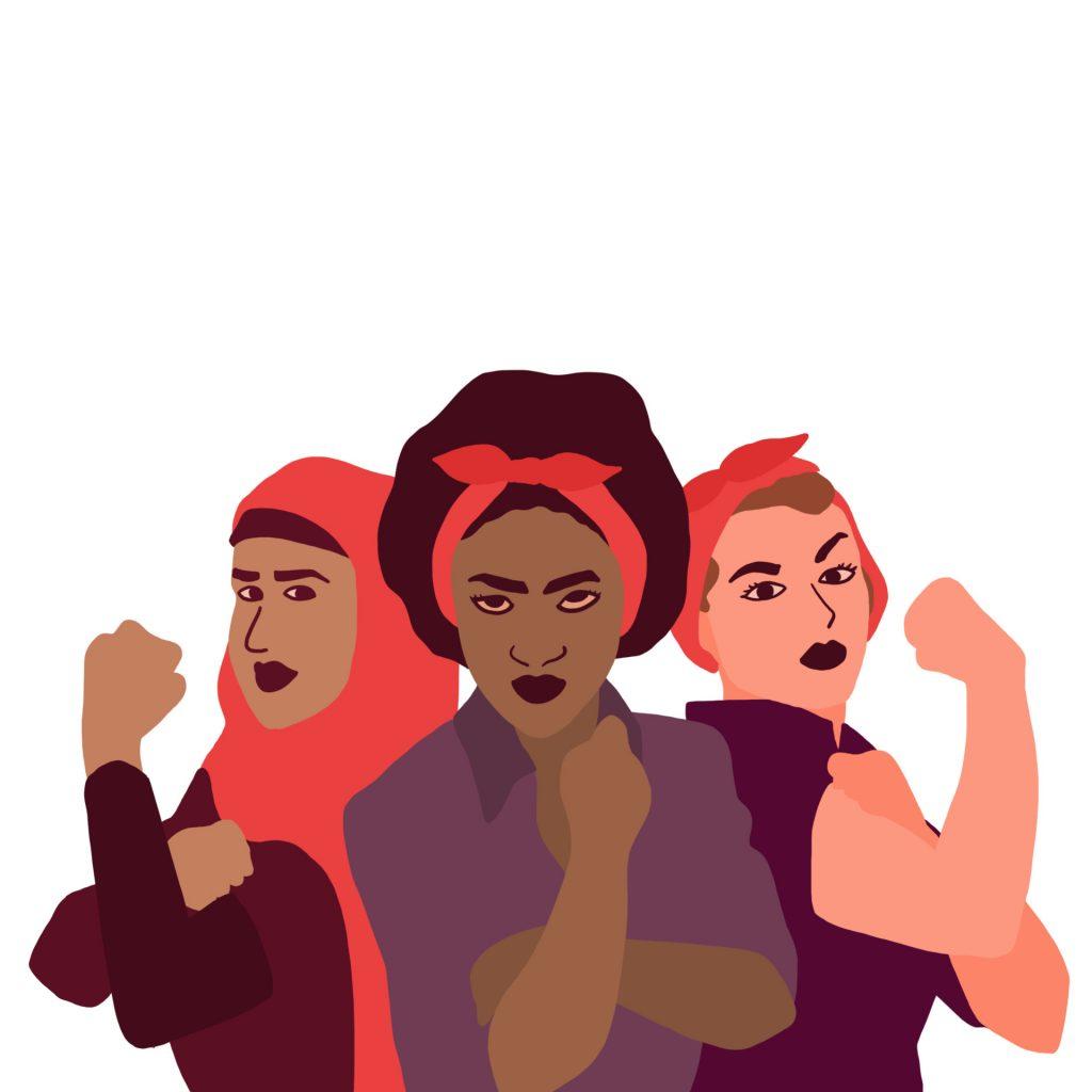 Tre kvinner viser knyttet neve. Illustrasjon