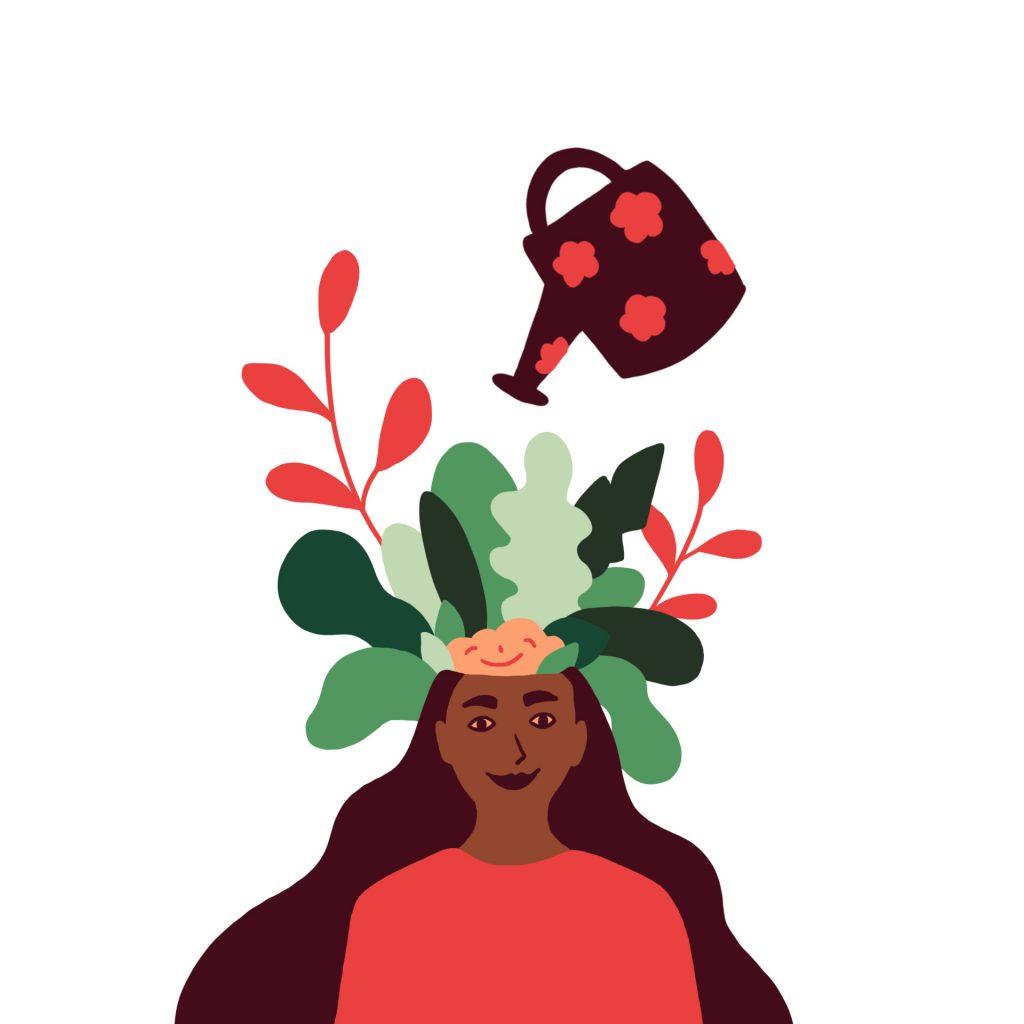 Illustrasjon som symboliserer god mental helse. Illustrasjon