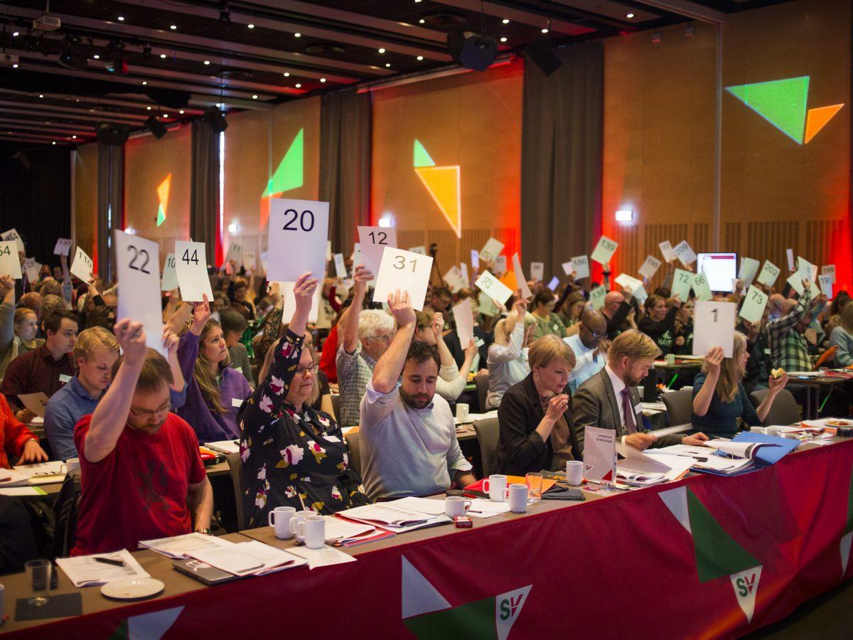 Landsmøtedelegater avgir stemme. Foto