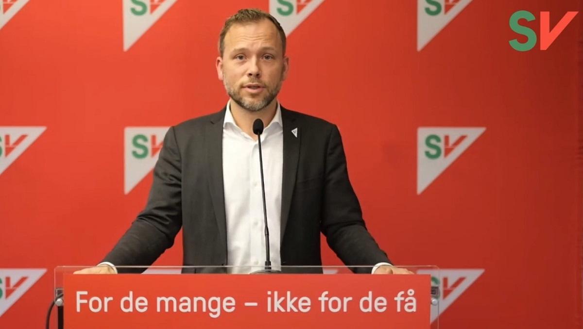 Partileder Audun Lysbakken taler til landsstyret. Foto
