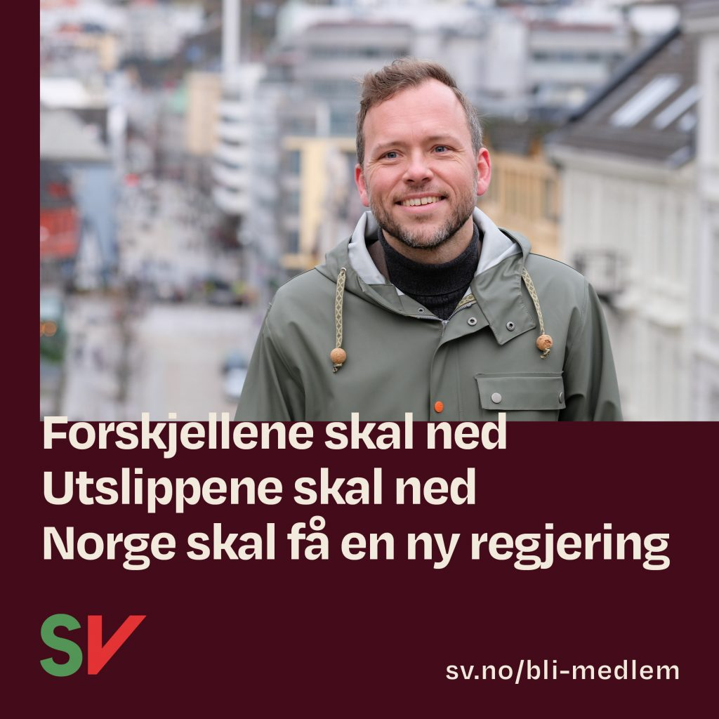Forskjellene skal ned, utslippene skal ned, Norge skal få en ny regjering. Audun Lysbakken. Grafikk over foto.
