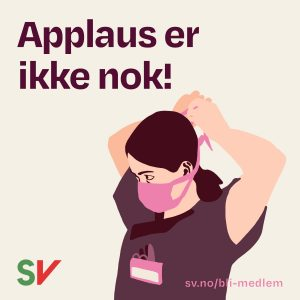 Applaus er ikke nok! Sykepleier med munnbind. Illustrasjon