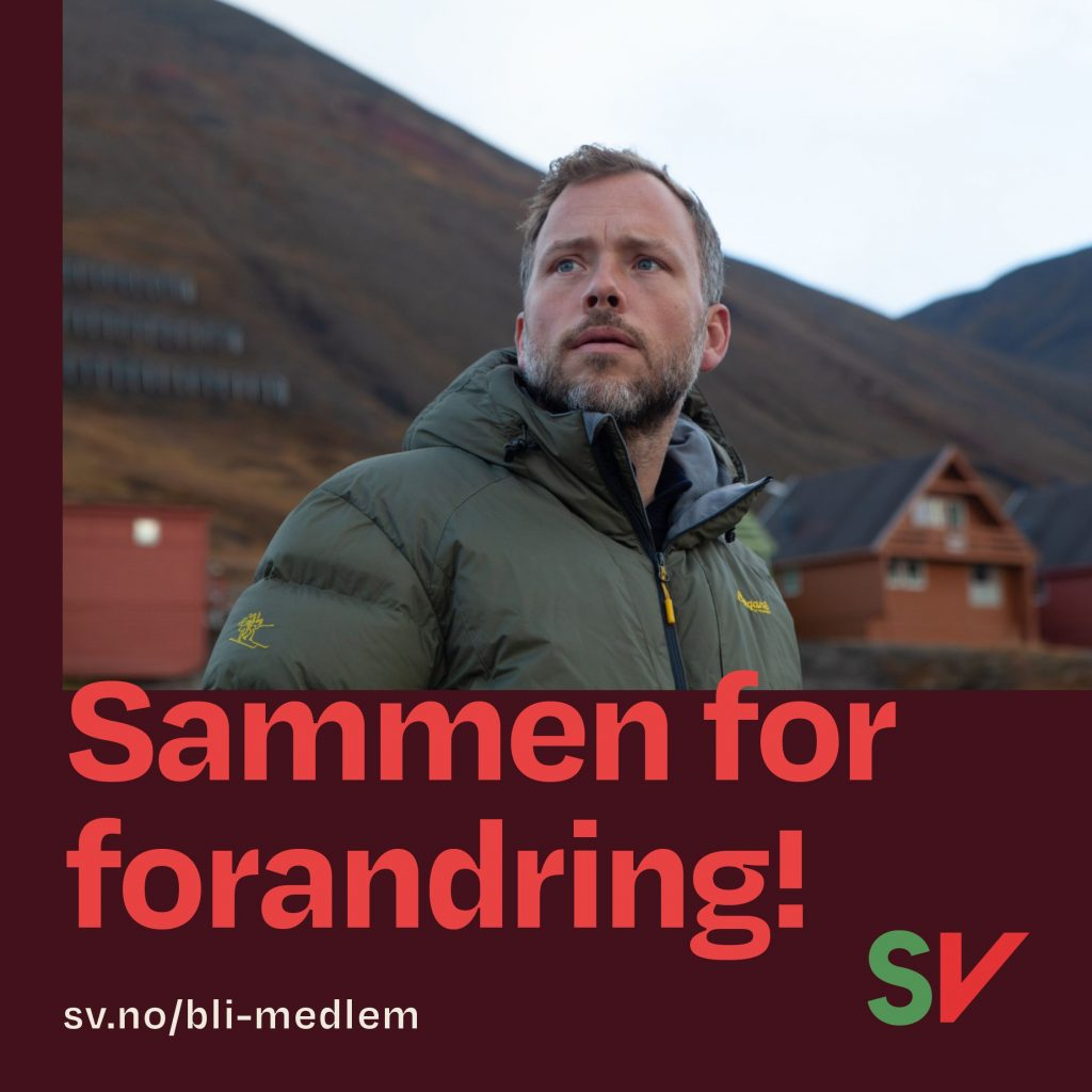 Sammen for forandring, sv.no/bli-medlem. Audun Lysbakken. Grafikk over foto