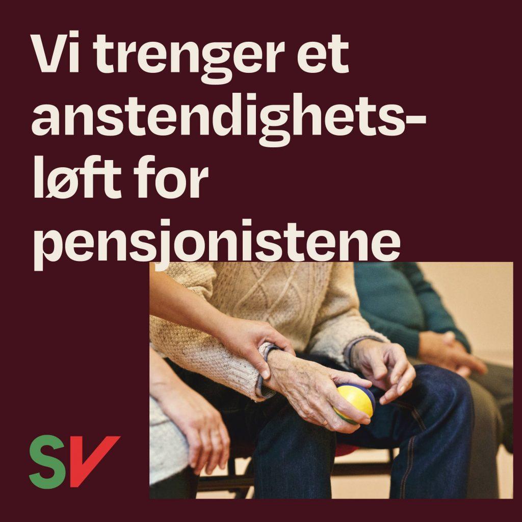Vi trenger et anstendighetsløft for pensjonistene. Person som holder en eldre mann i hånden. Grafikk over foto