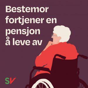 Bestemor fortjener en pensjon å leve av. Eldre kvinne i rullestol. Illustrasjon