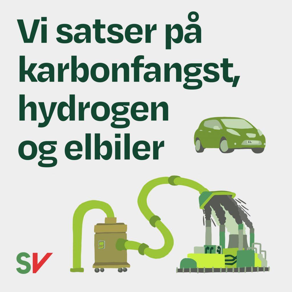 Vi satser på karbonfangst, hydrogen og elibiler. Illustrasjon