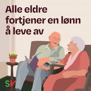 Alle eldre fortjener en lønn å leve av. To smilende eldre mennesker. Grafikk og illustrasjon