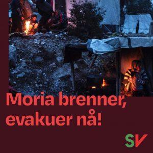 Moria brenner, evakuer nå! Flyktninger i Moria leiren. Grafikk over foto