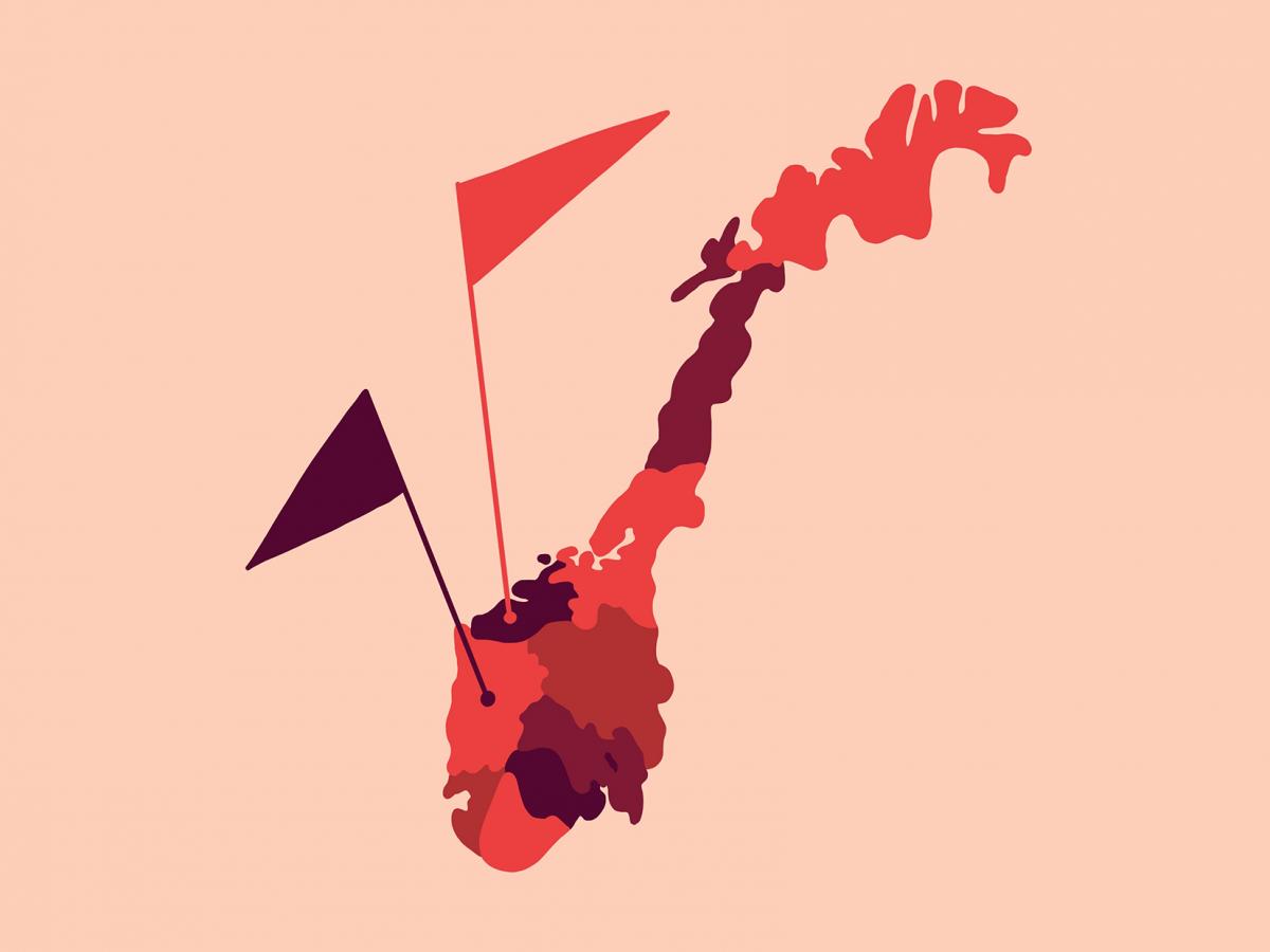 Norgeskart delt i fylker. Flag viser ulike punkt. Illusrasjon