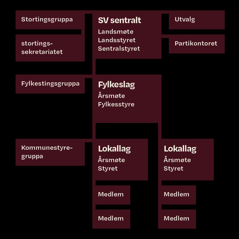 Organisasjonskart over SV. Illustrasjon