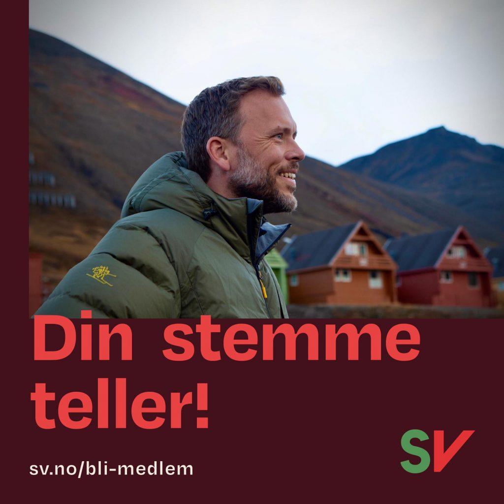 Din stemme teller! sv.no/bli-medlem. Audun Lysbakken. Grafikk over foto