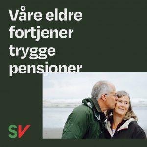 Våre eldre fortjener trygge pensjoner. Eldre par på en strand. Grafikk over foto