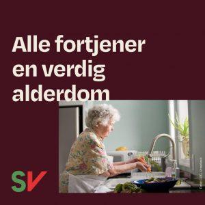 Alle fortjener en verdig alderdom. Eldre dame vasker gullrot. Grafikk over foto