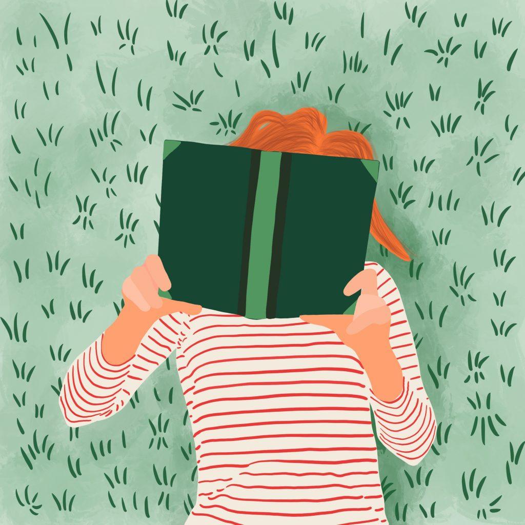 Ligger på gresset og leser bok. Illustrasjon.