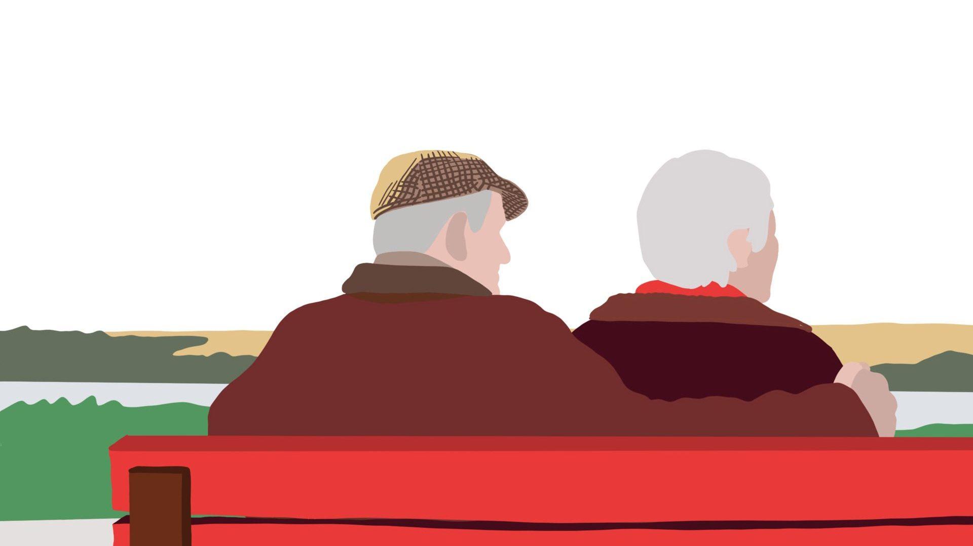 Eldre par på benk. Illustrasjon