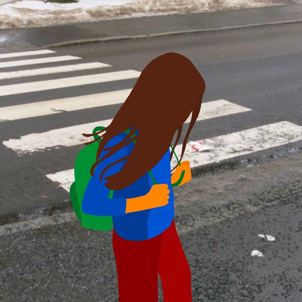Barn med ryggsekk. Illustrasjon.