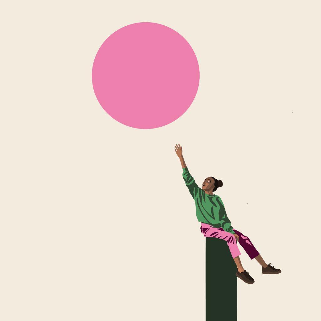 Jente som strekker seg mot solen. Illustrasjon.