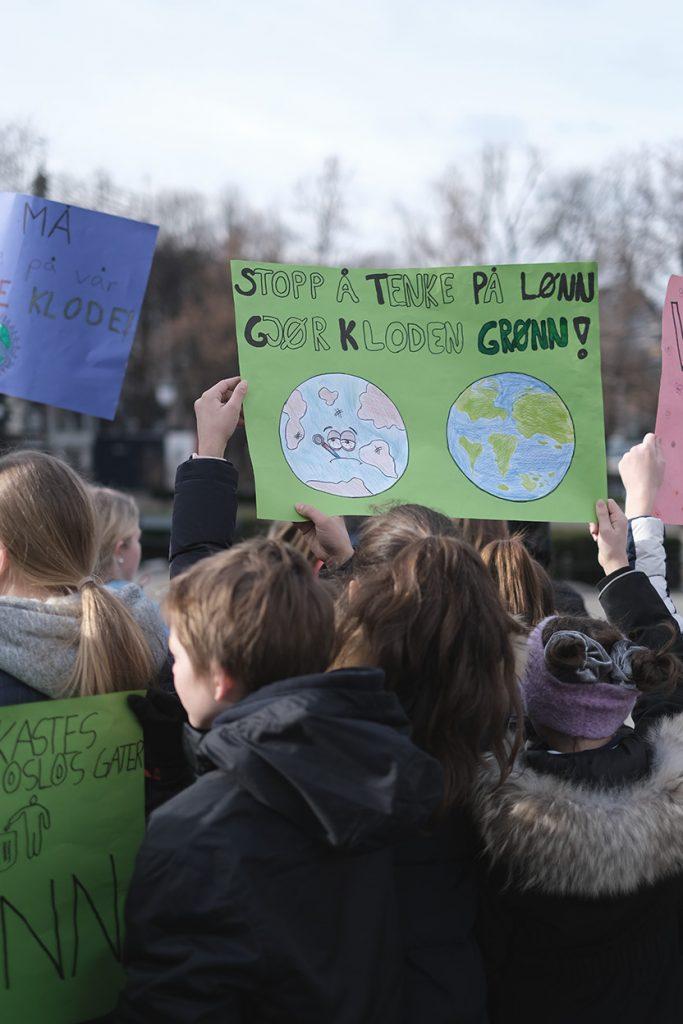 Klimastreikende ungdom. Foto